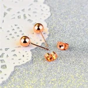 316L Stainless Steel Rose Gold Ball Stud Men Earrings