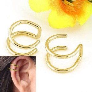 Clip-on Wrap Non Pierced Men Earrings Gold