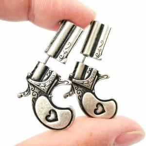 Pistol Gun Stud Men Earrings