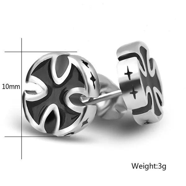 Stainless Steel Black Cross Stud Men Earrings