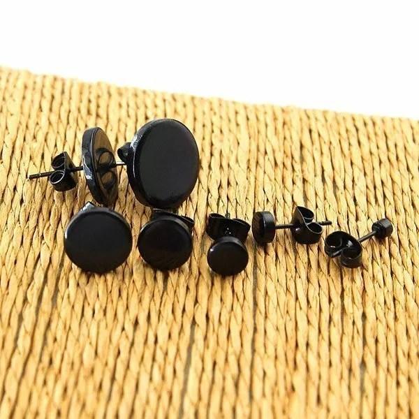 Stainless SteelBlackStud Men Earrings