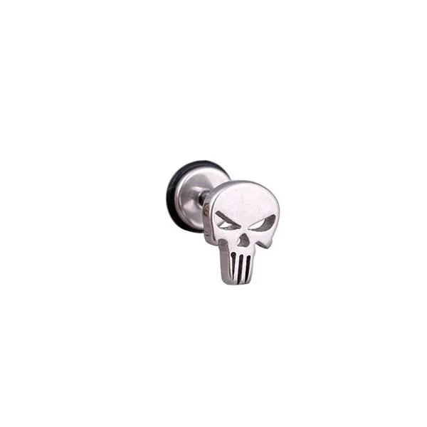 Stainless Steel Punk Skull Studs Men Earrings Silver