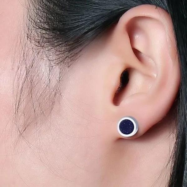 Black Round Tunnel Stud Men Earrings Blue