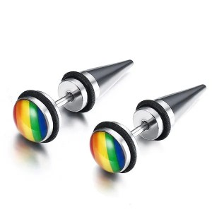 Rainbow Round Stud Stainless Steel Men Earrings
