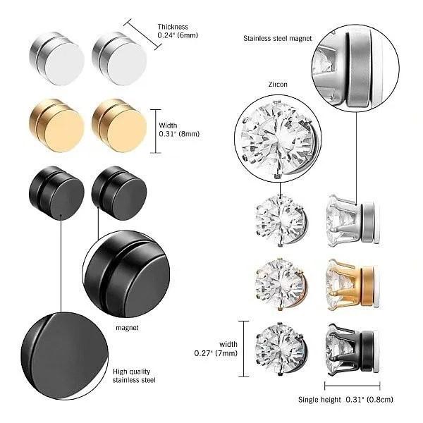 RoundMagnetic Earrings For Unpierced Ears Men 3 Sizes 3 Colors
