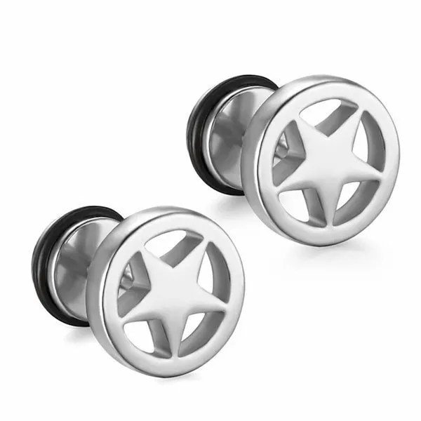 Stainless SteelBlack Star Stud Men Earrings