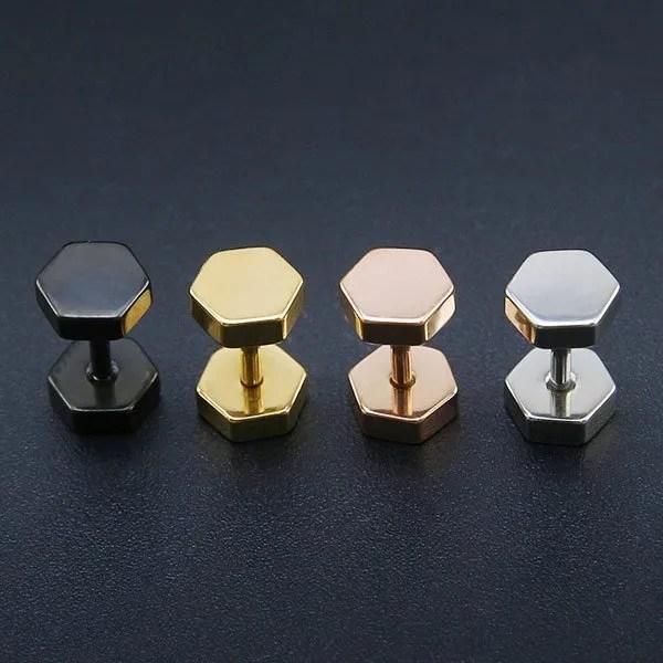 Double Hexagon Studs Earrings Men
