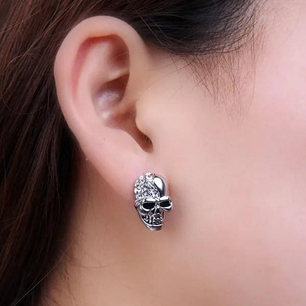 Rhinestone PunkCrystal Skull Stud Men Earring