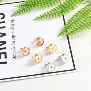 Clover Stainless Steel Stud Men Earrings