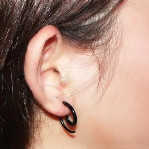 Black Spiral Snail Stud Men Earrings