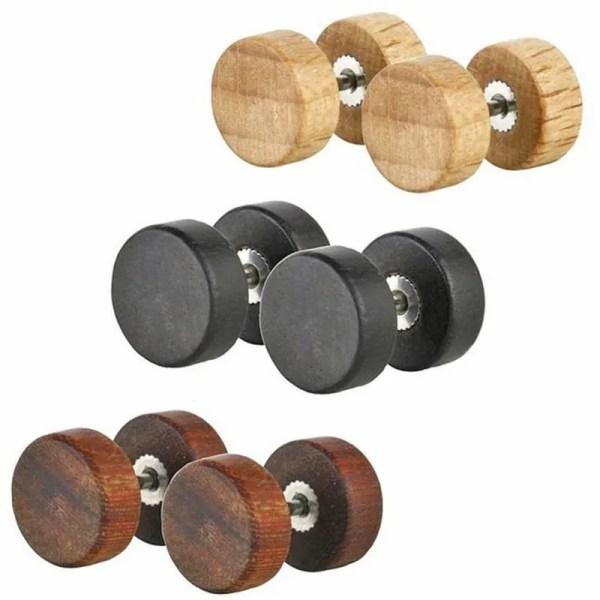 Natural Wood Ear Men Stud Earnings