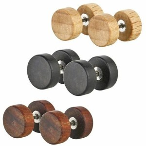 Natural Wood Ear Men Stud Earnings