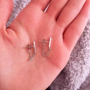 Rod Ear Plug BTS Chain Stud Earrings