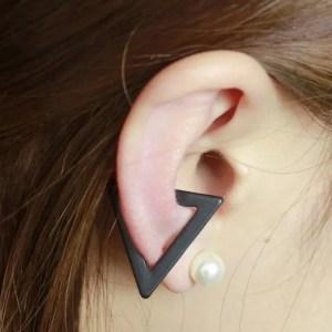 Black Triangle Clip Ear Cuff Earrings for Men