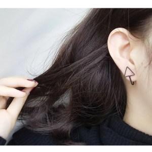 Black Triangle Clip Earrings Men