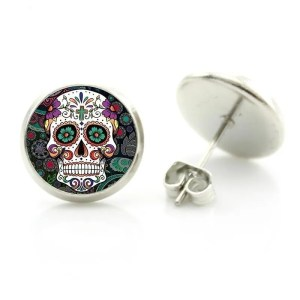 Colorful Sugar Skull Stud Earring
