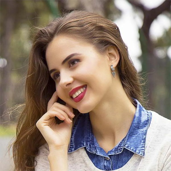 Hoop Huggie Earrings with Drop Triangle for Men
