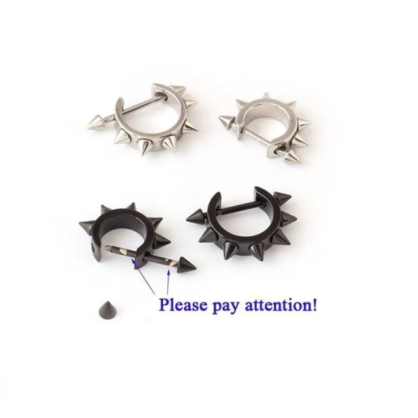 Stainless Spiked Hoop Earring D Shaped  2