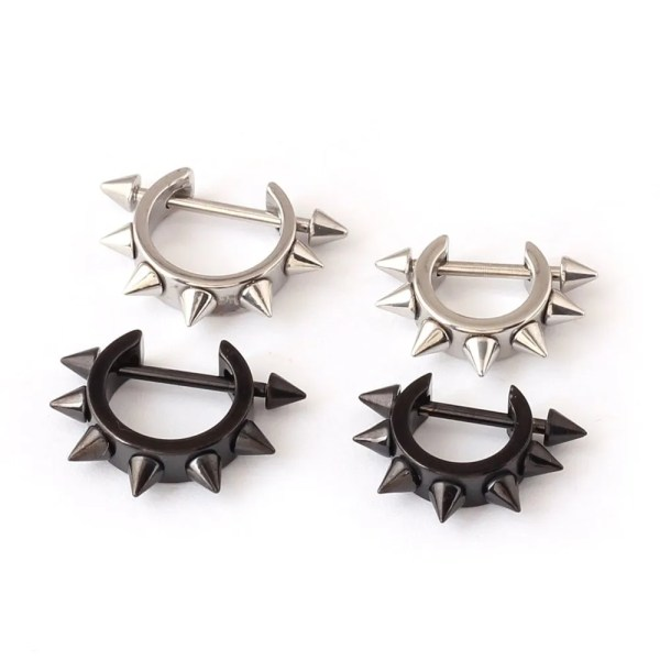 Stainless Spiked Hoop Earring D Shaped