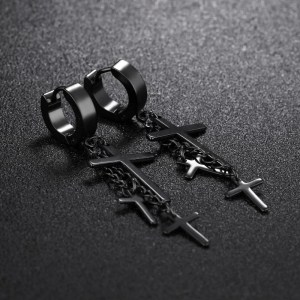 Dangling 3 Cross Earrings For Guys 3