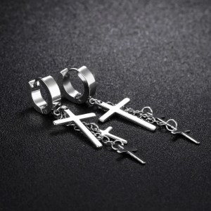 Dangling 3 Cross Earrings For Guys 4