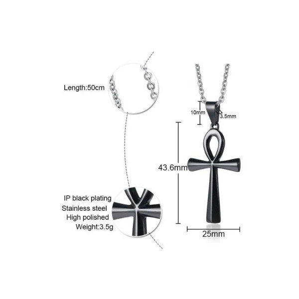 Ankh Cross Necklace Pendant Stainless Steel 3