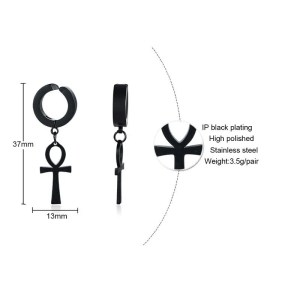 Clip On Ankh Cross Earrings for Men 2