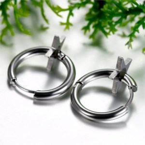 Star Hoop Earrings Stainless Steel for Men 4