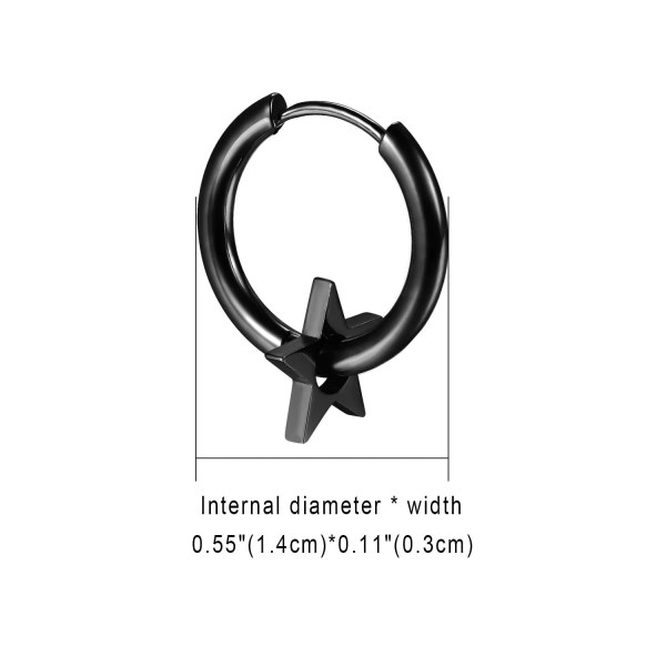 Star Hoop Earrings Stainless Steel for Men 1
