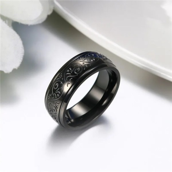 Mens Black Wedding Band 8mm Wide Stainless Steel 2