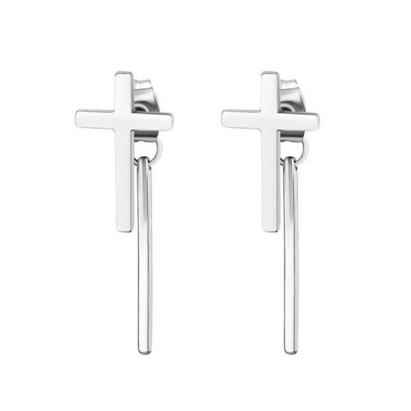 Cross Stud Earrings with dangle Bar for Guys Stainless Steel 2