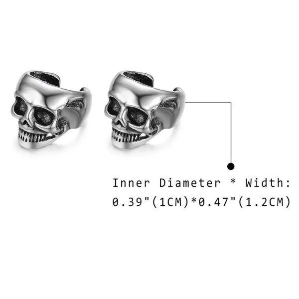 Skull Non-piercing Clip Earring Stainless Steel Men 2