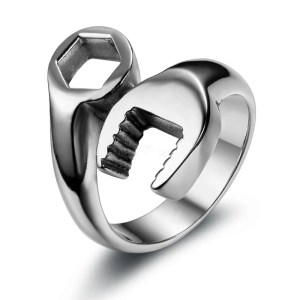 Wrench Spanner Ring for Men Stainless Steel 8-13 Size
