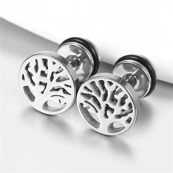 Tree of Life Earrings for Men Stainless Steel Silver Color 2