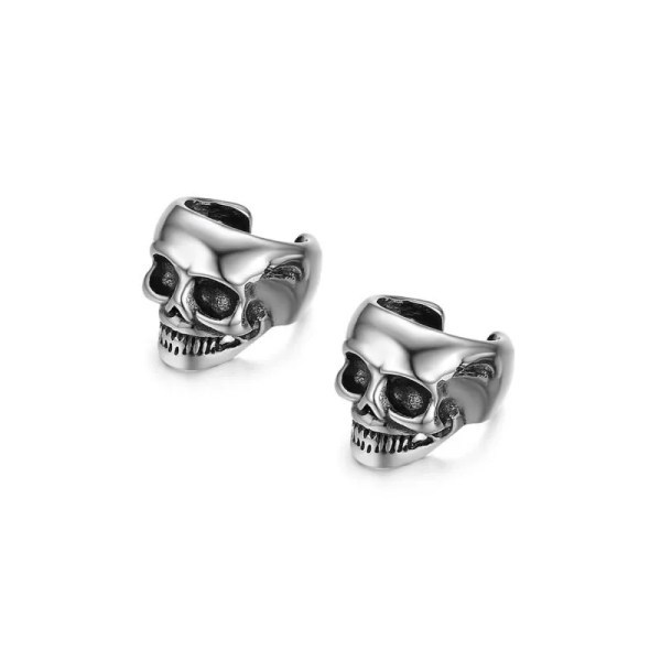 Skull Non-piercing Clip Earring Stainless Steel Men