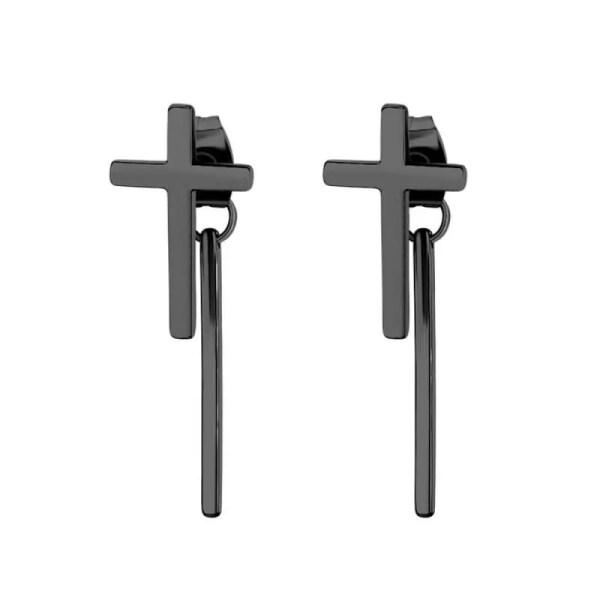 Cross Stud Earrings with dangle Bar for Guys Stainless Steel