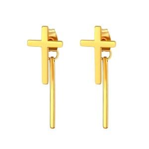 Cross Stud Earrings with dangle Bar for Guys Stainless Steel 3