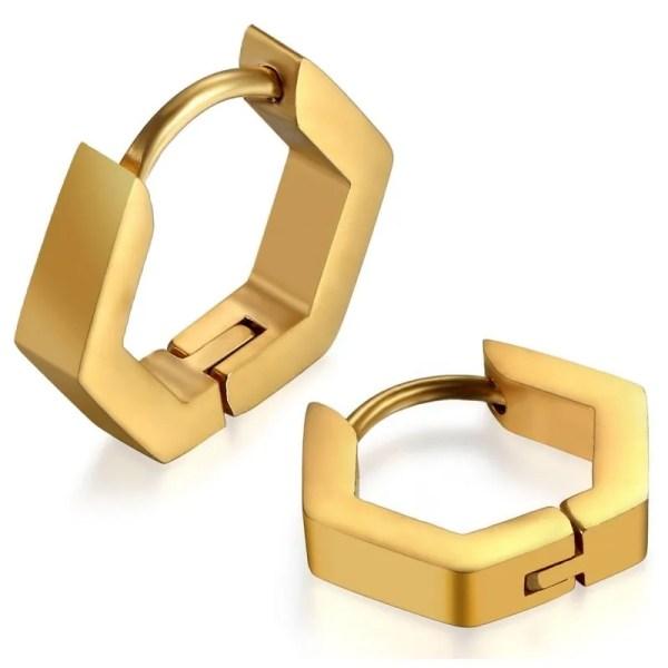Hexagon Hoop Earrings Stainless Steel 3 Colors Gold