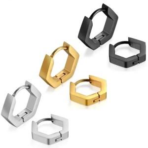 Hexagon Hoop Earrings Stainless Steel 3 Colors Men 4