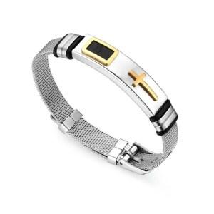 Cross Stainless Steel Bracelet 2 Colors for Men