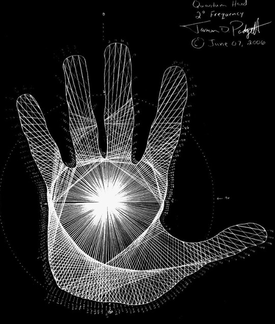 """Quantum Hand Through My Eyes"" © June 7, 2006 by Jason Padgett, who has something called Synesthesia. It is a brain condition that makes one see numbers as shapes. Jason is currently being studied along with several other savants to try to discover how this condition works. This hand drawn image is how Jason saw his hand when asked to draw it."