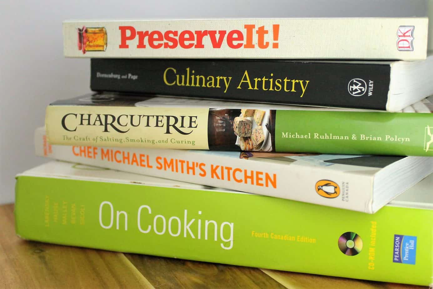 a stack of cookbooks