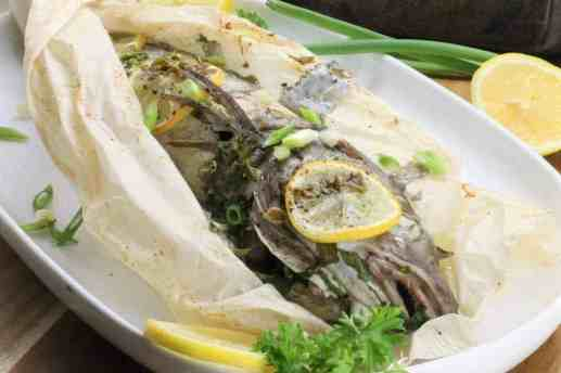 The final product - Whole Baked Haddock with lemon and herbs