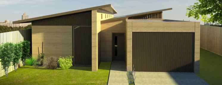 The Sawtooth is a 3-bedroom house design by EarthHouse, which designs and builds rammed earth homes in Melbourne and the Mornington Peninsula