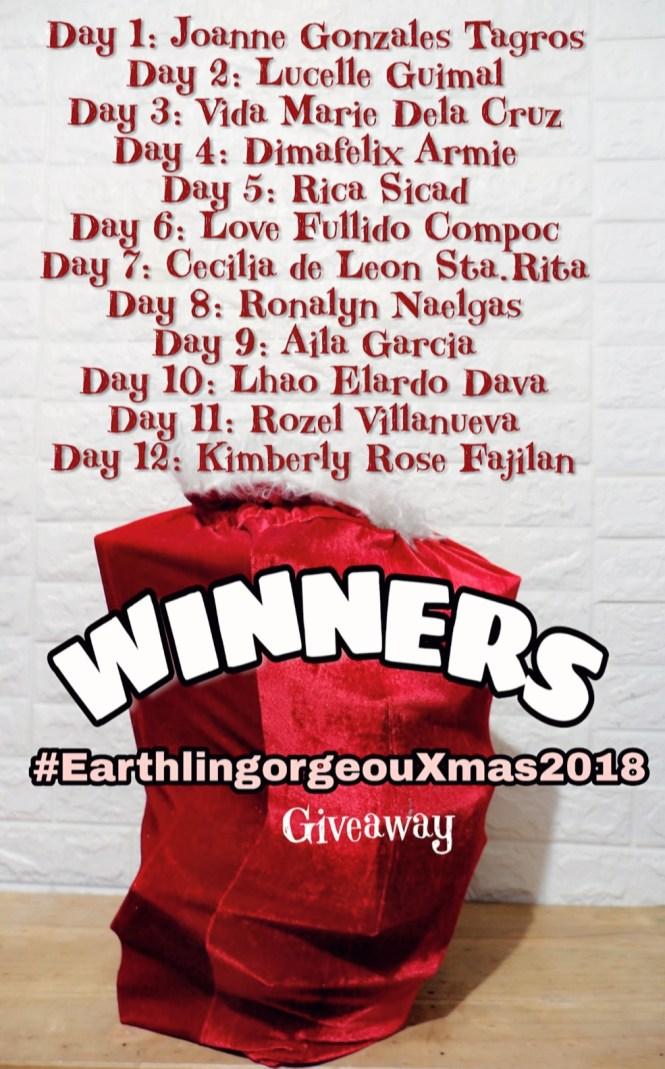 #EarthlingorgeousXmas2108 giveaway Winners