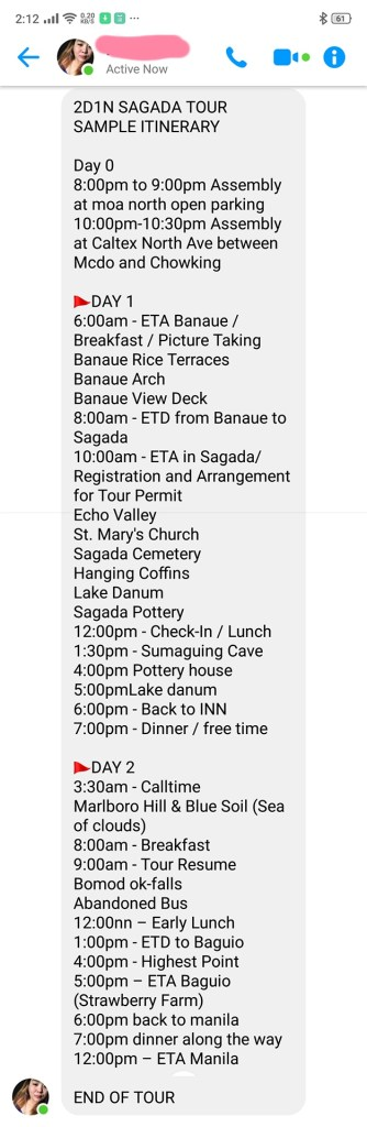 Sample Itenerary Sagada