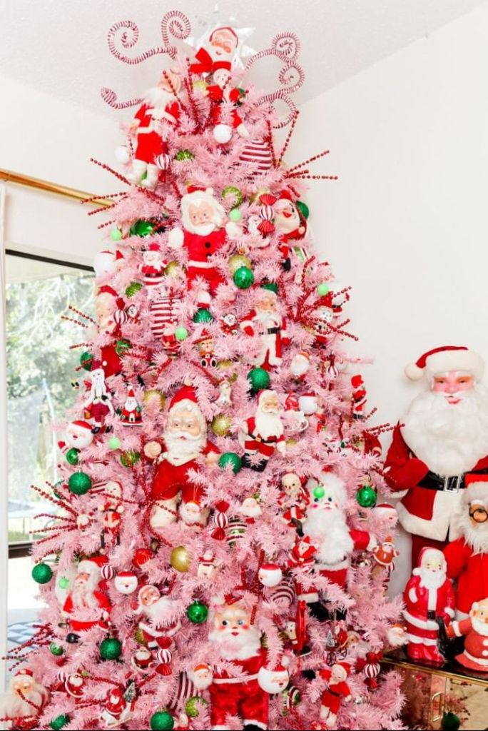 pink christmas decoration with red