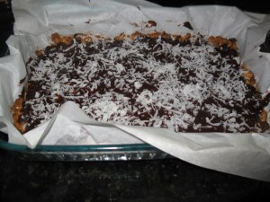 Granola Bars Topped With Chocolate & Coconut