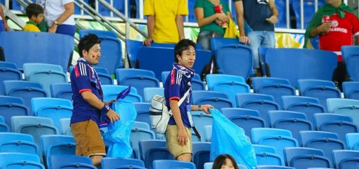 Japanese Soccer Fans Clean Up Stadium After World Cup Football Game
