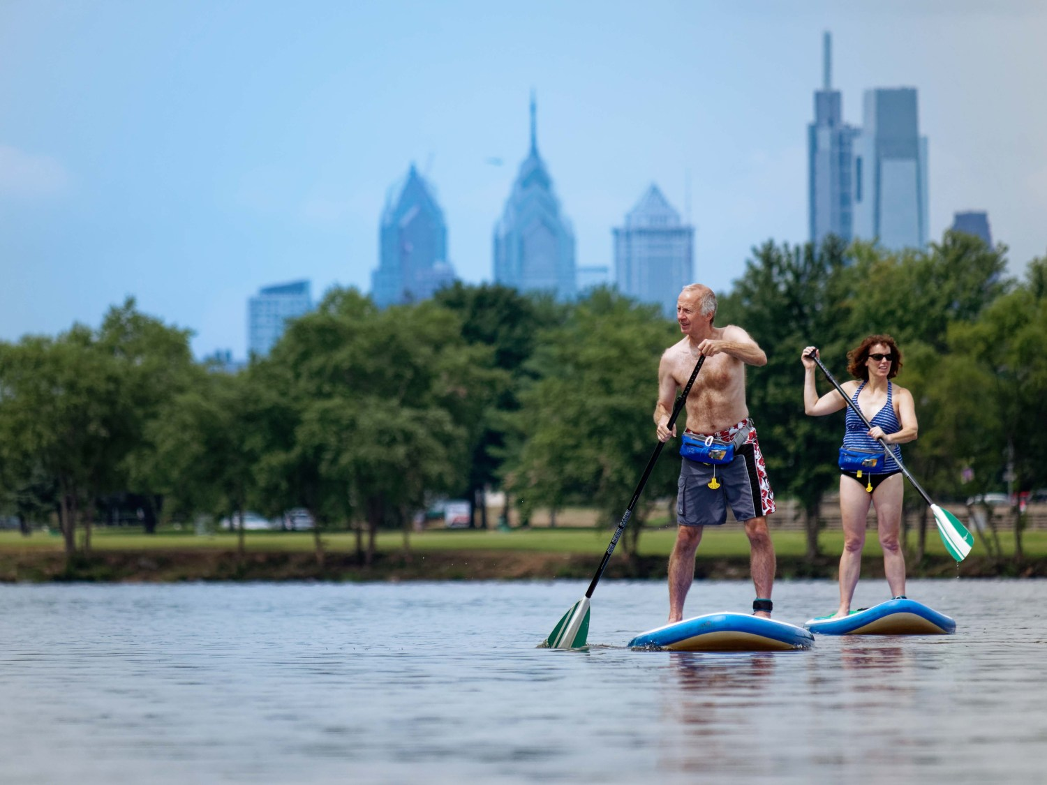 Earth River SUP riders at boating dock